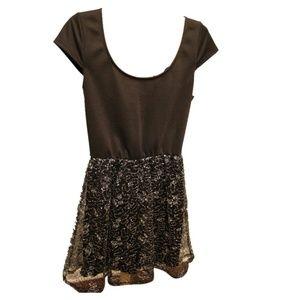 Black & Silver Short Sleeve Sequin Dress